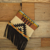 Tan and Teal Pendelton Clutch with Fringe
