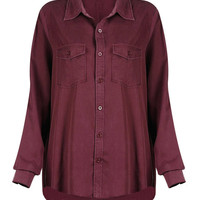 Burgundy Lapel Long Sleeve Shirt
