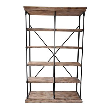 La Salle Metal And Wood Bookshelf By Crestview Collection Cvfzr1498