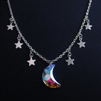 holographic moon necklace - pastel goth - grunge - kawaii - crescent moon necklace