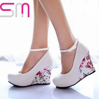 Flower Print Wedges Shoes