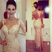 2016 Gold Prom Dresses with Shining  Sweetheart Bodycon Cocktail Dresses Trumpet Style Formal Dresses Evening Dresses  Appliques