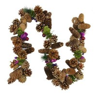 MDIGMS9 5' Decorative Brown and Purple Pine Cone and Berry Artificial Christmas Garland - Unlit