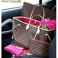 LV Trending Women Stylish Leather Tote Handbag Shoulder Bag Purse Wallet Set Two-Piece I