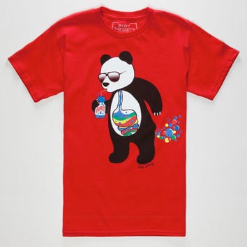 Riot Society Panda Bubbles Boys T-Shirt Red  In Sizes