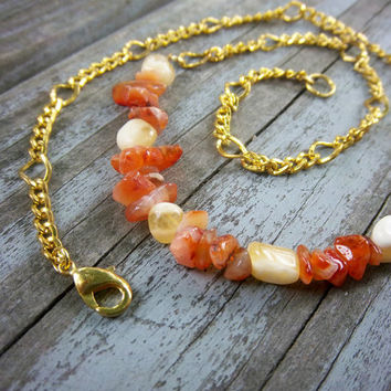 Rising Sun Carnelian and Aragonite Gemstone Necklace