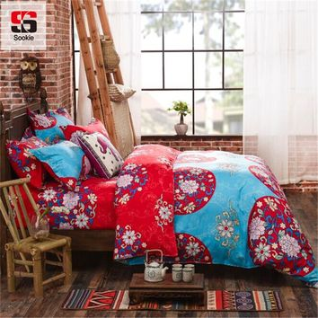 Sookie 4pcs AB Side Boho Duvet Cover Sets Vintage Bohemia Style 3pcs King Size Bedding Sets Pillowcases jogo de cama Bed Linen