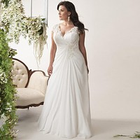 Elegant V-neck Cap Sleeves Gown
