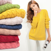 2015 Women Sweaters And Pullovers Fashion Casual Long sleeve O-neck Twist Knitted Christmas Sweater Women One Size