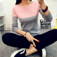 2016 Autumn&Winter Black &White Cashmere Sweater Women Patchwork Pullovers O-Neck Knitted Soft Warm Pullover pull femme hiver