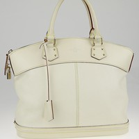 Louis Vuitton White Suhali Leather Lockit MM Bag