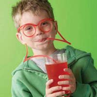 Silly Kids Drinking Straw Glasses