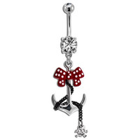 Steel Anchor With Polka Dot Bow and Skull Belly Ring