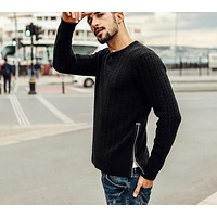 new autumn winter sweater men fashion pullovers o neck slim fit clothing kintted