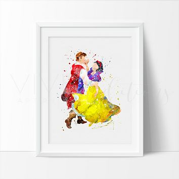 Snow White & The Prince Watercolor Art Print