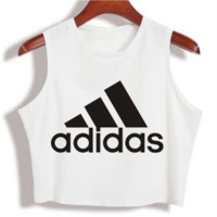 """Adidas"" Fashion Sexy Casual Classic  Letter Print Round Neck Sleeveless Vest T-shirt Crop Top"