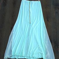 Mint Green Chiffon Maxi Skirt with Front or Back Zipper Boho Festival Flowy Skirt