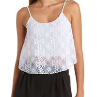 Swing Lace Crop Top by Charlotte Russe - White