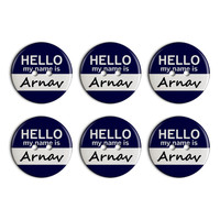 Arnav Hello My Name Is Plastic Resin Button Set of 6