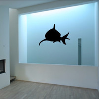 Shark Front Facing Silhouette Vinyl Wall Decal 22320