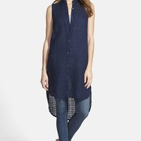 Women's Eileen Fisher Mandarin Collar Linen Shirtdress (Online Only)