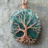Moss agate Life Pendant Copper Wire Wrapped gemstone Yggdrasil Family Tree Necklace moth totem Moss Green