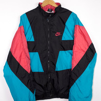 90s NIKE colorblock windbreaker jacket - vintage 80s - early 1990s - cyan aqua blue + salmon pink - mens l - xl
