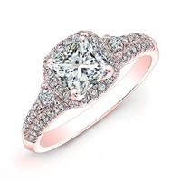 1.20 carat Princess & Round Brilliant Cut Diamond Halo Anniversary Engagement Ring in 14k Rose Gold