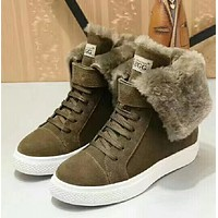 shosouvenir : UGG : Female boots tube boots female warm winter cotton wool leather thick fur in the increased slip