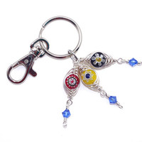 Evil Eye Purse Charm – Glass Millefiori Bead Keychain – Protection Amulet – Lucky Charm - Birthday Present for Her
