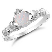 Kriskate & Co. Irish Claddagh Ring .925 Sterling Silver with Simulated Lab Opal Heart Promise Ring