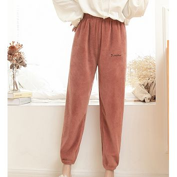 Autumn and winter warm coral fleece casual loose thickened pajamas