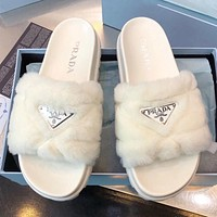 PRADA solid lamb hair platform sandals triangle logo ladies personalized slippers Shoes White