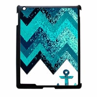 Chevron Navy Anchor Sparkly iPad 2 Case