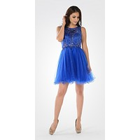 Sleeveless Tulle Skirt Embellished Bodice Damas Dress Short Royal Blue
