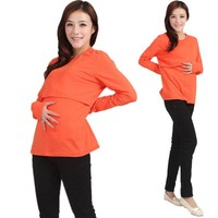 Pregnant Maternity Clothes Nursing Tops Breastfeeding Long Sleeve T-Shirt Long sleeves