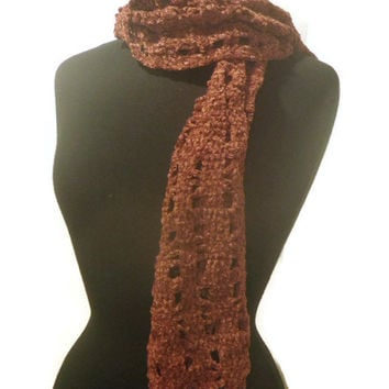 Crochet scarf, brick red Chenille scarf, OOAK scarf
