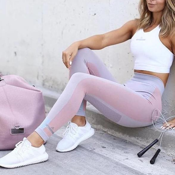 Image of Fashion Casual Multicolor High Waist Sport Gym Running Pants Trousers Sweatpants