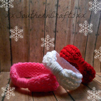 Baby Winter Headband Set, Red Knitted Headband, Pink Infant Headwrap, White Crochet Headband, Baby Headwrap, Gift, 0-12 Month Sizing Options