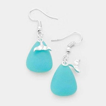 Blue Sea Glass Dolphin Tail Charm Silver Dangle Earrings