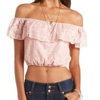 Off-the-Shoulder Flounce Crochet Crop Top by Charlotte Russe