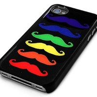 Black Snap-on Iphone Cover Case for 4/4s Iphone - Multi-colormustache Rainbow Gay Pride No Hate - Height:4.5 Inches X Width: 2.5 Inches X Thickness:0.5 Inches.