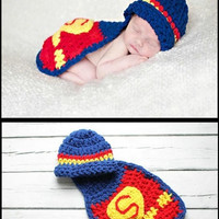 1 set Newborn Cute Superman Infant Baby Boys Girls Knit Crochet Handmade Photography Photo Props Size Fit 0-12Months = 1946038404
