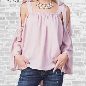 Breezy Tie Shoulder Top - Light Mauve - Small only