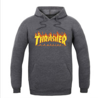 """Thrasher""Men and women with the flame hooded couples sweater Dark grey"