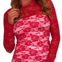 Women's Party Casual Lace Mesh Stretchy Ruffled Scoop Neck Long Sleeve Tunic Top