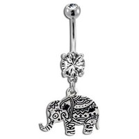 Byzantium Elephant Belly Button Ring