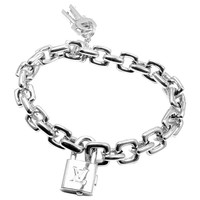 Louis Vuitton Padlock and Keys Charm Large Link White Gold Bracelet