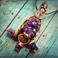 Amethyst Crystal Cluster Tribal Wicca Pagan Clay Art Pendant Necklace