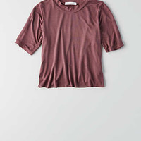 Don't Ask Why Mock Neck Cropped T-Shirt, Burgundy